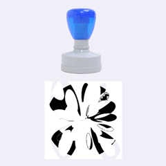 Blue abstract flower Rubber Round Stamps (Medium)