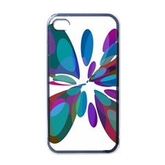 Blue abstract flower Apple iPhone 4 Case (Black)