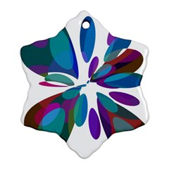 Blue abstract flower Snowflake Ornament (2-Side)