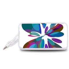 Blue abstract flower Portable Speaker (White)