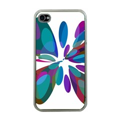 Blue abstract flower Apple iPhone 4 Case (Clear)