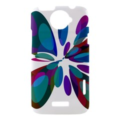 Blue abstract flower HTC One X Hardshell Case