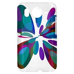 Blue abstract flower HTC Desire HD Hardshell Case