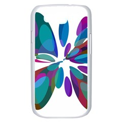 Blue abstract flower Samsung Galaxy S III Case (White)