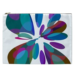 Blue abstract flower Cosmetic Bag (XXL)