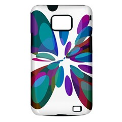 Blue abstract flower Samsung Galaxy S II i9100 Hardshell Case (PC+Silicone)