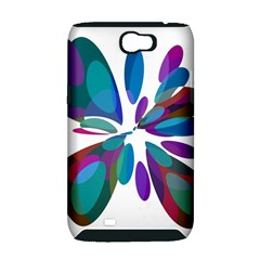 Blue abstract flower Samsung Galaxy Note 2 Hardshell Case (PC+Silicone)