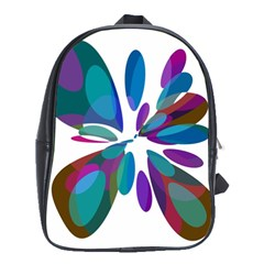Blue abstract flower School Bags (XL)