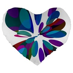 Blue abstract flower Large 19  Premium Heart Shape Cushions