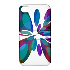 Blue Abstract Flower Apple Iphone 4/4s Hardshell Case With Stand