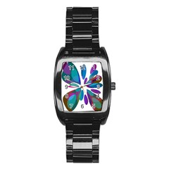 Blue abstract flower Stainless Steel Barrel Watch