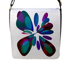 Blue abstract flower Flap Messenger Bag (L)