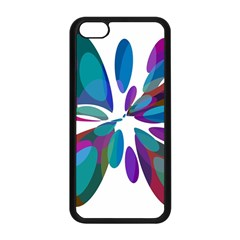Blue abstract flower Apple iPhone 5C Seamless Case (Black)