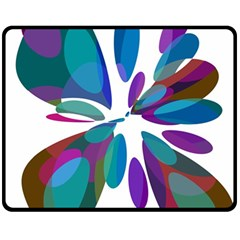 Blue abstract flower Double Sided Fleece Blanket (Medium)