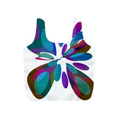 Blue abstract flower Full Print Recycle Bags (S)