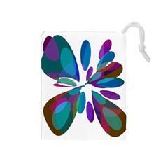 Blue abstract flower Drawstring Pouches (Medium)