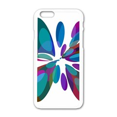 Blue abstract flower Apple iPhone 6/6S White Enamel Case