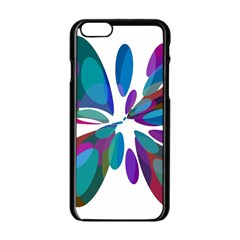 Blue abstract flower Apple iPhone 6/6S Black Enamel Case