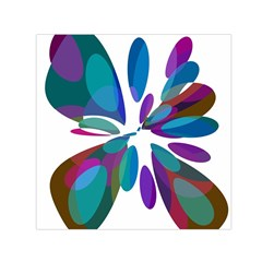 Blue abstract flower Small Satin Scarf (Square)