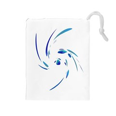 Blue twist Drawstring Pouches (Large)