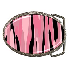 Black and pink camo abstract Belt Buckles