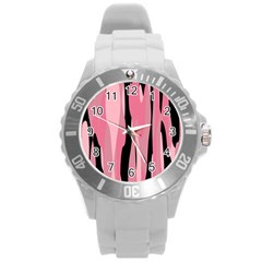 Black and pink camo abstract Round Plastic Sport Watch (L)