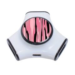 Black and pink camo abstract 3-Port USB Hub
