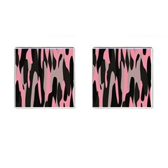 pink and black camouflage abstract Cufflinks (Square)