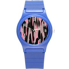 pink and black camouflage abstract Round Plastic Sport Watch (S)
