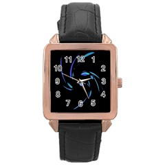Blue twist Rose Gold Leather Watch