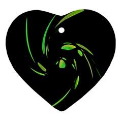 Green Twist Heart Ornament (2 Sides)