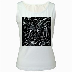 Gray abstraction Women s White Tank Top