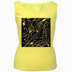 Gray abstraction Women s Yellow Tank Top