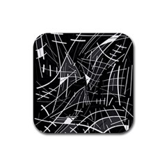 Gray abstraction Rubber Square Coaster (4 pack)