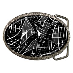 Gray abstraction Belt Buckles