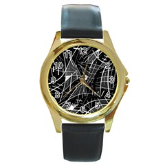 Gray abstraction Round Gold Metal Watch