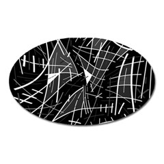 Gray Abstraction Oval Magnet