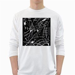 Gray abstraction White Long Sleeve T-Shirts