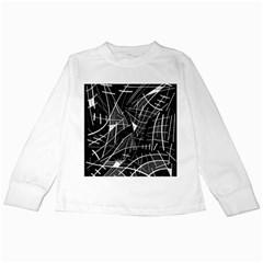 Gray abstraction Kids Long Sleeve T-Shirts