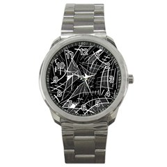 Gray abstraction Sport Metal Watch
