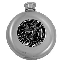 Gray abstraction Round Hip Flask (5 oz)