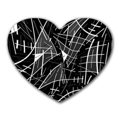Gray abstraction Heart Mousepads