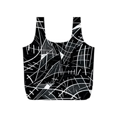 Gray abstraction Full Print Recycle Bags (S)