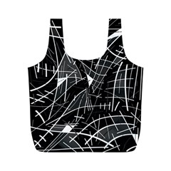 Gray abstraction Full Print Recycle Bags (M)