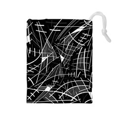 Gray abstraction Drawstring Pouches (Large)