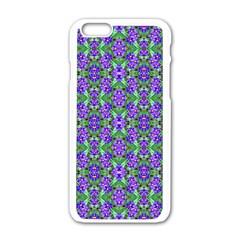 Pretty Purple Flowers Pattern Apple iPhone 6/6S White Enamel Case