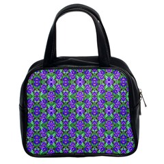 Pretty Purple Flowers Pattern Classic Handbags (2 Sides)