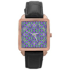 Pretty Purple Flowers Pattern Rose Gold Leather Watch