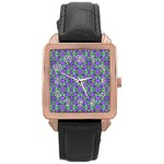 Pretty Purple Flowers Pattern Rose Gold Leather Watch  Front