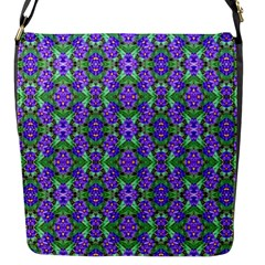 Pretty Purple Flowers Pattern Flap Messenger Bag (S)